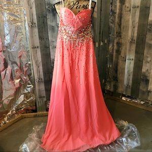 Tiffany Designs Coral Pink Chiffon Bead Prom Dress